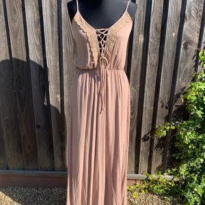 Tan Lace Up Maxi Dress